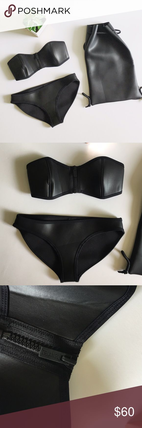Triangl Bikini Black Bandeau Set with Bag Triangl black bikini set size small. Bandeau style. No stains or holes, smoke and pet free. Open to offers! Bag included. triangl swimwear Swim Bikinis