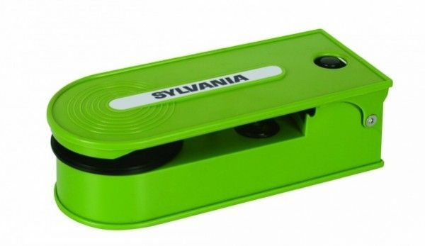 A green Sylvania Turntable Record Player with USB encoding is a cheap vinyl record player for small apartments.