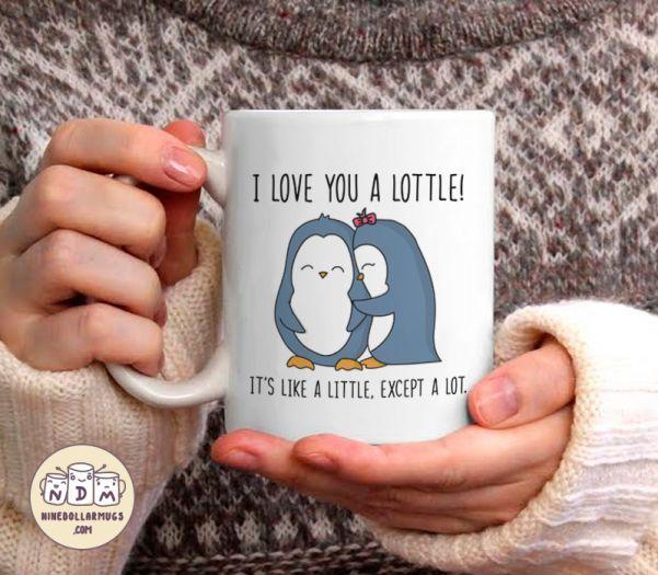 I Love You A Lottle – Cute Penguin Lovers Mug, Christmas gift for boyfriend or girlfriend