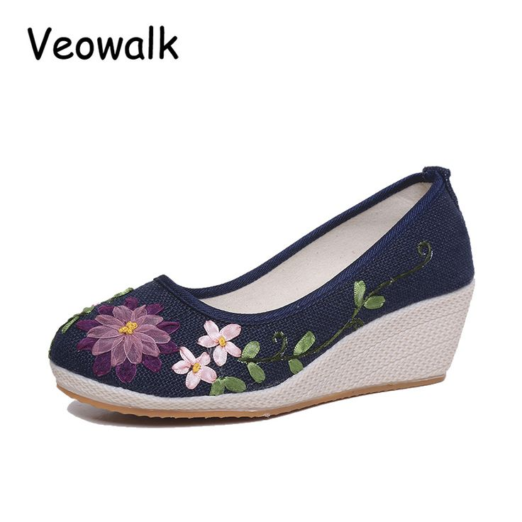 Femmes Chaussures Printemps Été Nouveau Coton Lin Toe Espadrilles Espadrilles National Vent Respirant Shallow Mouth Chaussures À La Main Broderie Occasionnels Chaussures ( Color : D , Taille : 41 )