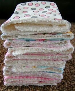Sewin Sanity: THE BEST Burp Rags and Bibs -- this mom has decided not to use cloth diapers. Says ones you can buy at Wal-Mart are from China ... buy the chenille fabric and cute cotton prints. I think these would be good overall cleaning rags.