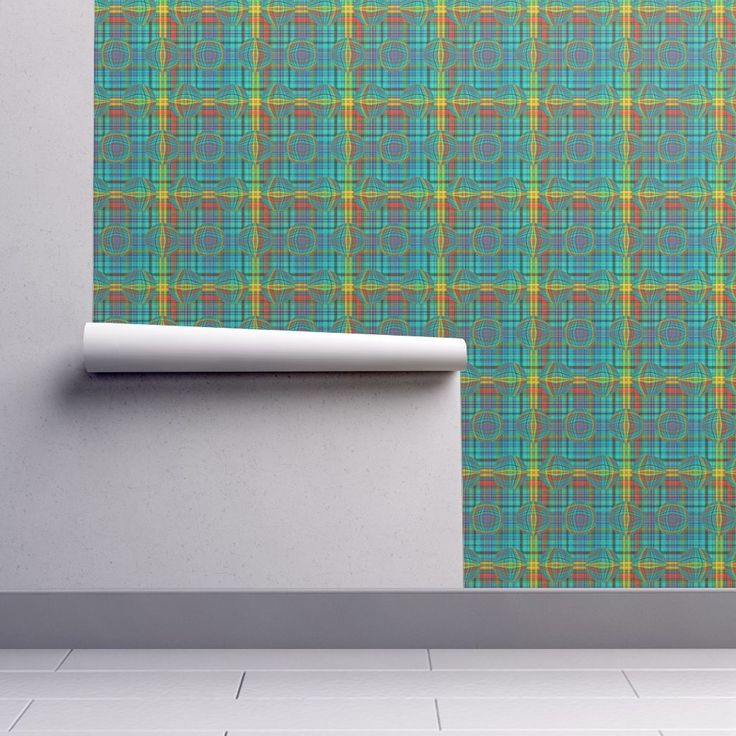 BUBBLE PLAID TURQUOISE EMERALD on Isobar by paysmage | Roostery Home Decor
