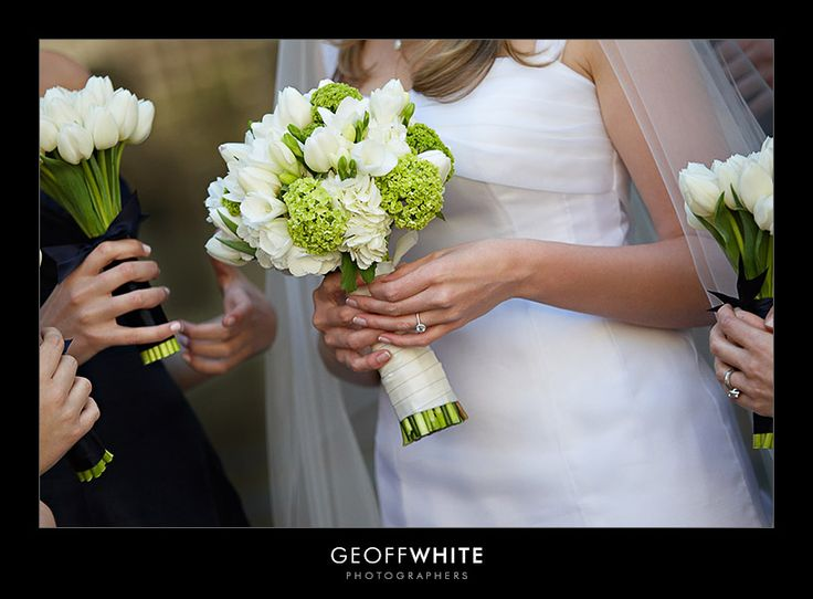 white and green bouquets (love the tulips)