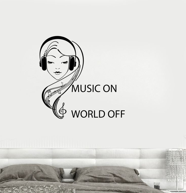 Vinyl Decal Quote Teen Girl Room Music Headphones Musical Wall Stickers Mural (ig2746)