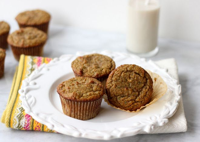 Zucchini Muffins {Grain-Free, Paleo} sub 10 soaked dates for honey. Add a little coconut flour to make less moist. Grease muffin cups