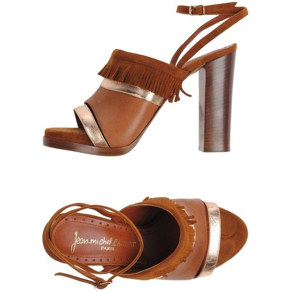 Jean-michel Cazabat Sandals ($115) ❤ liked on Polyvore featuring shoes, sandals, brown, leather sandals, round toe sandals, fringe shoes, fringe sandals and buckle sandals