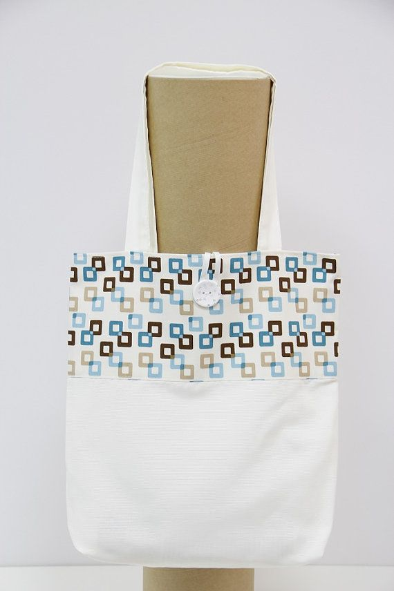 Handmade Shopping Bag, Shopping bag, Tote Bag. Blue abd brown squares shopping bag. Squares shopping bag