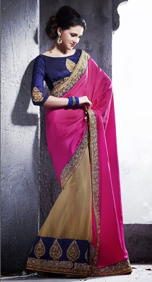 Partly pallu dull gold and fuchsia pink saree