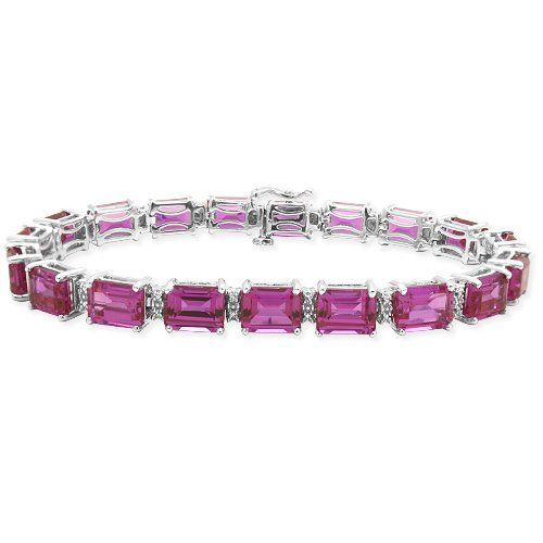 """Sterling Silver Emerald-Cut Created Pink Sapphire with Diamond-Accent Bracelet, 7.50"""" Amazon Curated Collection. $197.00. The natural properties and composition of mined gemstones define the unique beauty of each piece. The image may show slight differences to the actual stone in color and texture. All our diamond suppliers certify that to their best knowledge their diamonds are not conflict diamonds"""