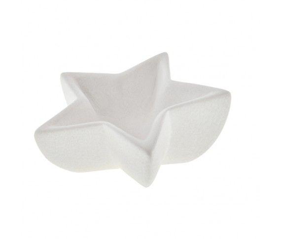 2,70 € - Coppetta stella bianco satinato, realizzata in ceramica, dimensioni cm. 13x12xh4.