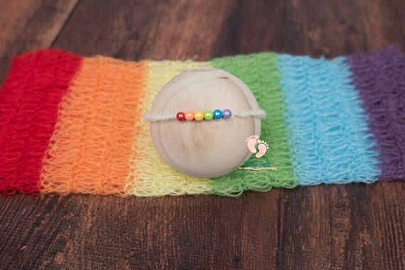 Rainbow Baby Mohair Wrap and Matching Tieback for Newborn Photography. High Quality, Quick Shipping, Fantastic Shop! Tiny Tot Prop Shop <3