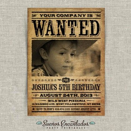 printable vintage wanted poster birthday invitation. Black Bedroom Furniture Sets. Home Design Ideas