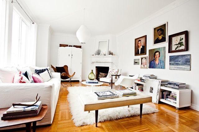 via rue magazine: White Living, White Spaces, Rue Magazines, Cozy Living Rooms, Portraits, Rugs, Victoria Smith, Art Wall, White Wall