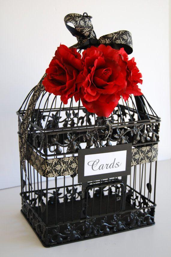 Large BLACK Wedding Bird Cage Card Holder  by MackensleyDesigns, $65.00