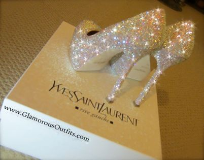 Yves Saint Laurent Sparkly High Heels  Get them from www.glamorousoutfits.com                                                                                                                                                     More