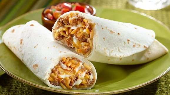 Rice & Beef Burritos Ingredients 8 oz. lean ground beef 2 cups water 1 pkg. Knorr® Fiesta Sides™ (Spanish Rice) 1 cup Mexican cheese blend 6 (10-inch) burrito-size flour tortillas, warmed