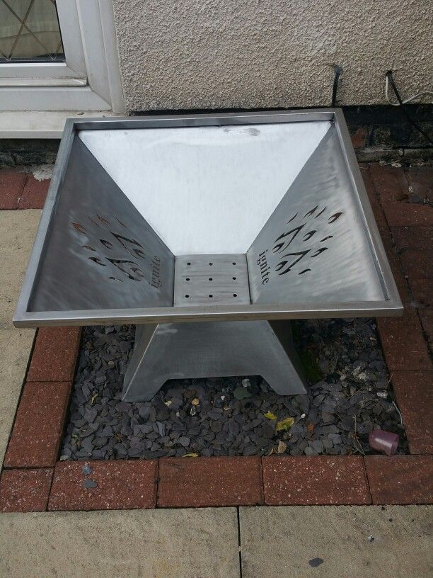 Fire pit / bin with water jet cut out flame design