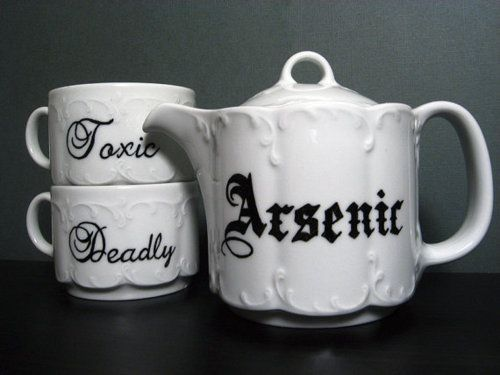"This would be a great addition to a murder mystery themed tea party. A very ""deadly"" selection my deary. Cue the evil laugh! #teaparty #teatime #tea"