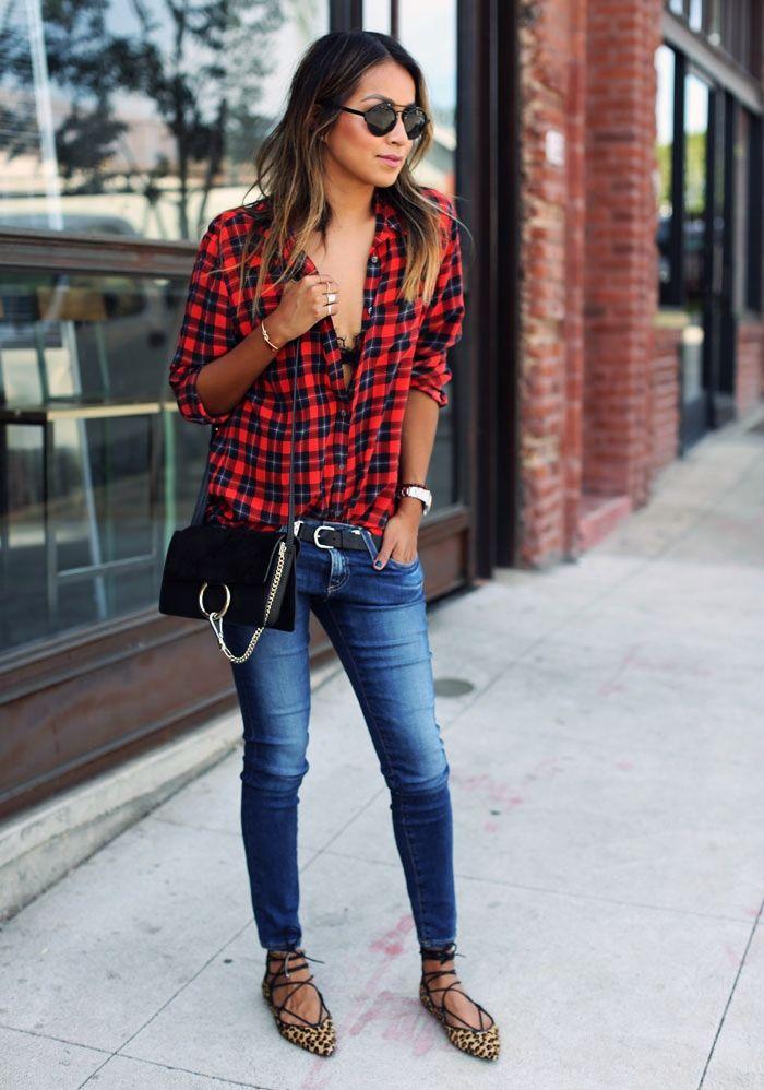 Plaid Shirt / lace Up Flats / Chloe Faye Bag - Sincerely Jules