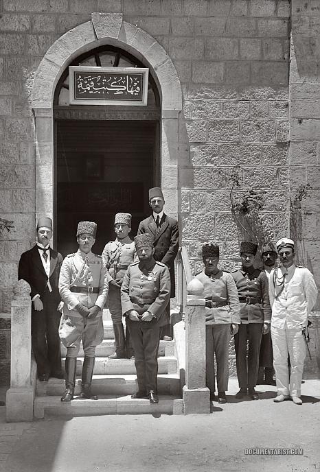 Prince Osman Fuad and Cemal Paşa at the Salahiyeh School. Jerusalem 1917