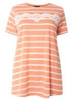 Womens DP Curve Plus Size Coral Lace Trim T-Shirt- Coral
