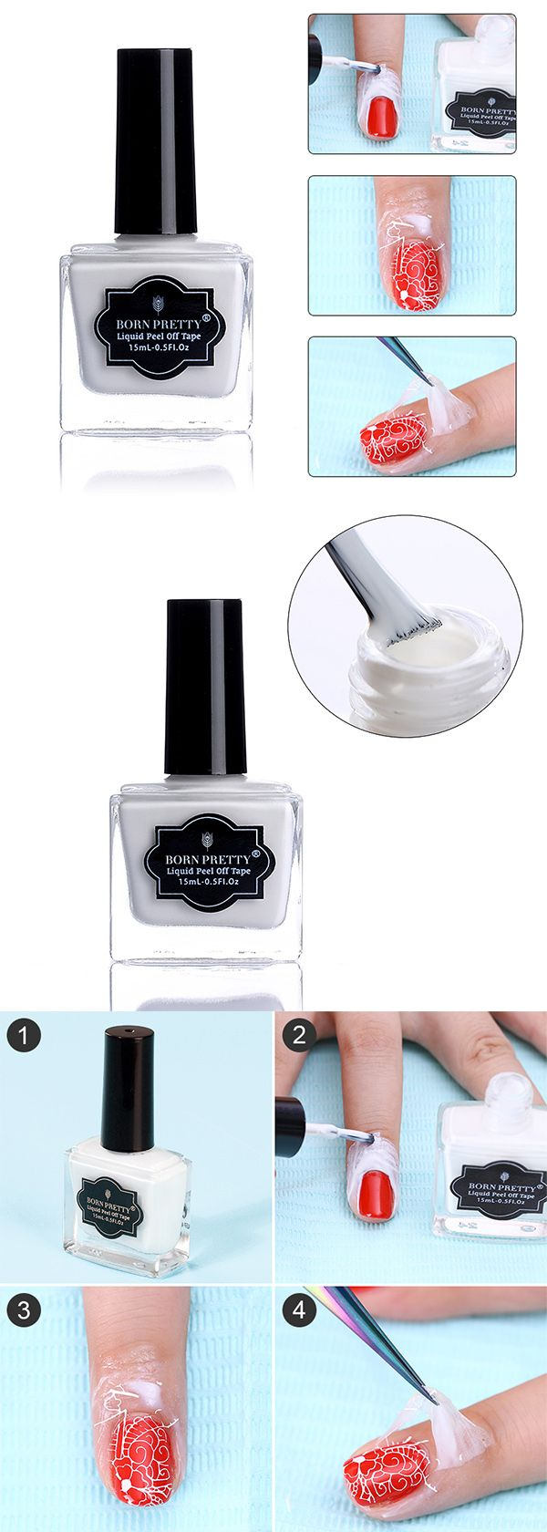 #bornpretty Antifreezing Peel Off Liquid Tape Nail Latex Cuticle Guard Manicure Nail Art Care from bornprettystore.com.  #naillatex #nailtools