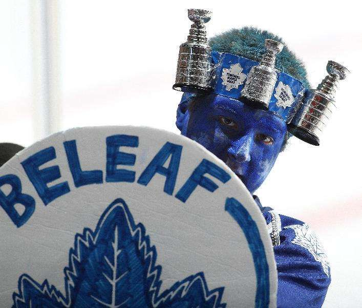 The NHL's Best Fans:    No. 5 Toronto Maple Leafs:   The Maple Leafs have made the playoffs only once ﴾lost in the Conference Finals in 2013﴿ the past 11 seasons yet the team consistently sells out the Air Canada Centre and has the highest average non‐premium ticket price in the NHL.