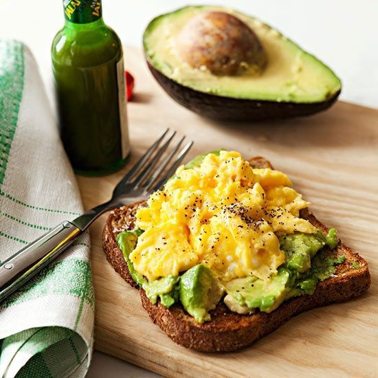 Avocado & egg.1 teaspoon butter 1 egg, beaten 1/4 avocado 1 slice  sprouted wheat bread, toasted jalapeno hot sauce, such as Tabasco directions In small nonstick skillet, melt butter over medium heat. Add egg; season and scramble. In small bowl, mash avocado; season and spread on toast. Top with egg; sprinkle with pepper and hot sauce. Makes 1.