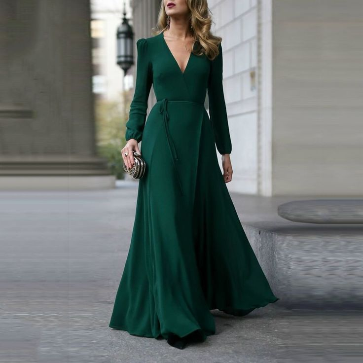 Fashion Green Long Sleeve Maxi Evening Dress – PINKSIA