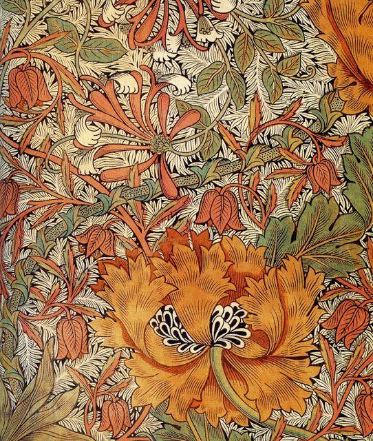 William Morris. Honeysuckle printed textile design, 1876.
