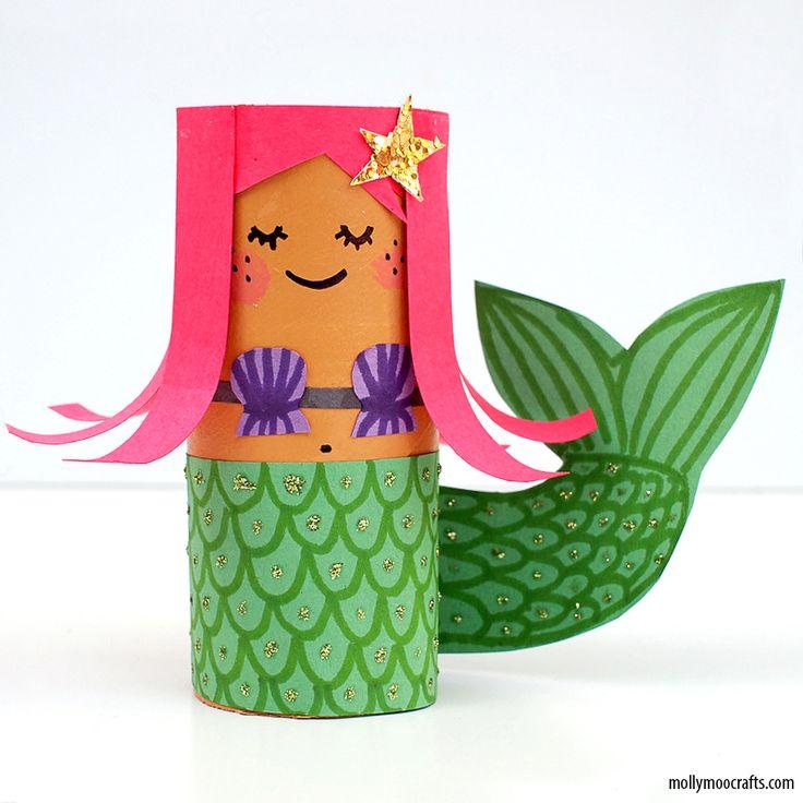 Mais ideias criativas com rolo de papel higiênico_TP-Roll-Mermaid-craft-kids