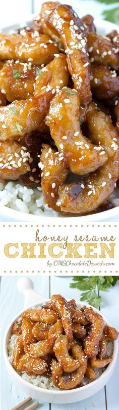 Honey Sesame Chicken - easy baked chicken recipe. Fried chicken pieces in a sticky sweet and savory honey sesame sauce. #chicken #recipes