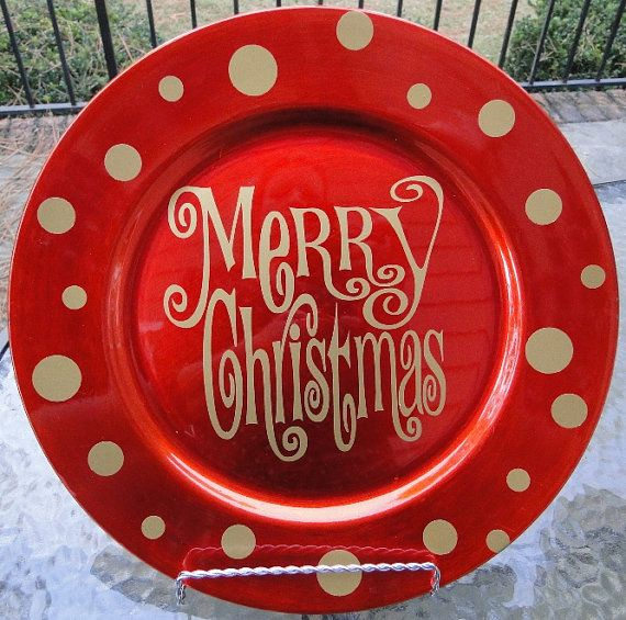 Beautiful large charger plate decorated with \ Merry Christmas\  in gold. Decoration is high quality vinyl that will last year after year with proper car. & 23 best Bible verses images on Pinterest | Xmas Charger plate ...