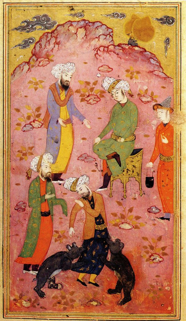 Miniature from the manuscript of The Treatise on Calligraphers and Artists by Quazi Ahmad ibn Mir-Munshi al-Husayni 1597 Isphahan