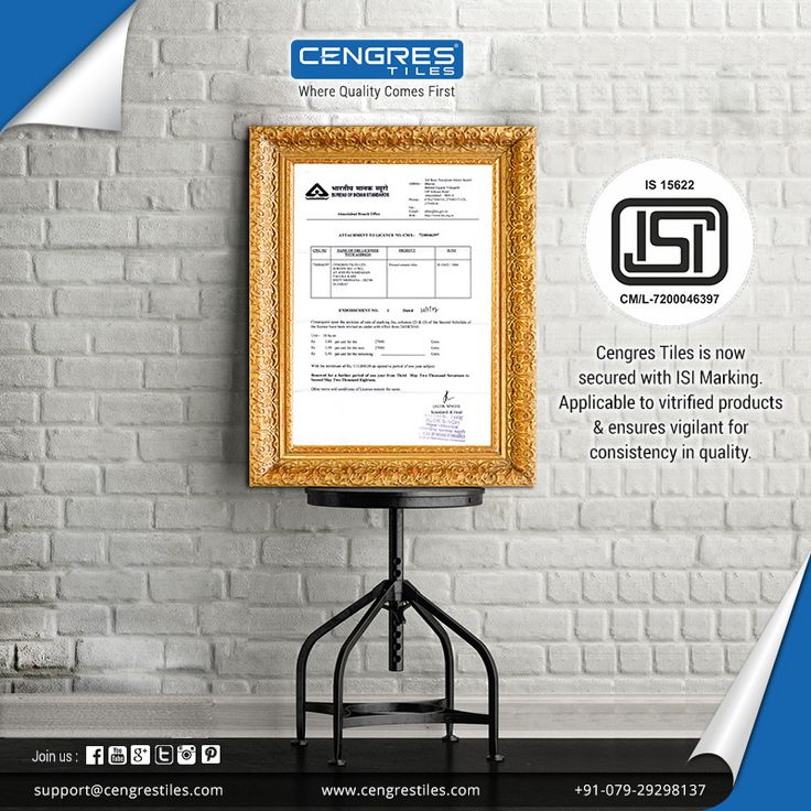 """One More Reason to Trust Cengres Tiles""  Now #Cengres #Vitrified #Tile Products are Secured with ISI Mark.  #ISI #Certification #ISIMark #ISIMarking #Products #ISICertification"