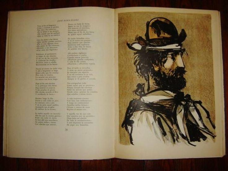 """Libro """"El gaucho Martin Fierro y la Vuelta de Martin Fierro"""" ilustrado por Carlos Alonso,  Ediciones Emecé, (1960)."""