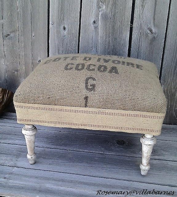 burlap / grain sack covered ottoman  Where can I buy burlap like that?