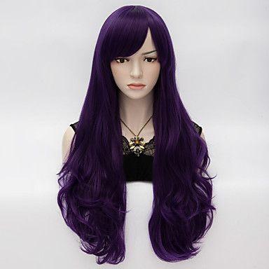 loita långt vågigt hår cosplay peruk värme motstå syntetiskt parti hår lila mörk 4036096 2016 – Kr.103