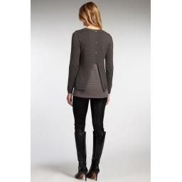 Mixed Media Pullover, Ash: Knit and jersey layered sweater with scoop neckline, and decorative button back detail!