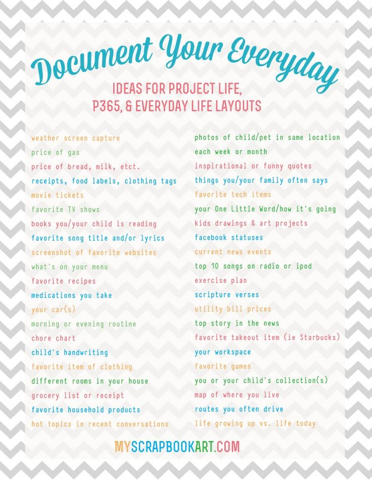 "Project Life: Keeping Your Sanity. Great article with tips on how to stay on top of your PL and this cool list of ""other"" things to document about your #everyday"