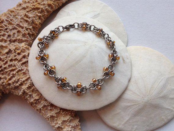 Simplicity Chainmaille Shimmer Bracelet by JewelrybySacredArt, $40.00