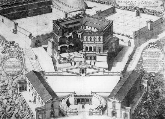 Jacques Lemercier. General scenographic drawing of the Caprarola palace, 1608