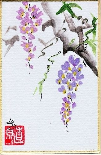 Wisteria Painting in Sumi-e by melisa