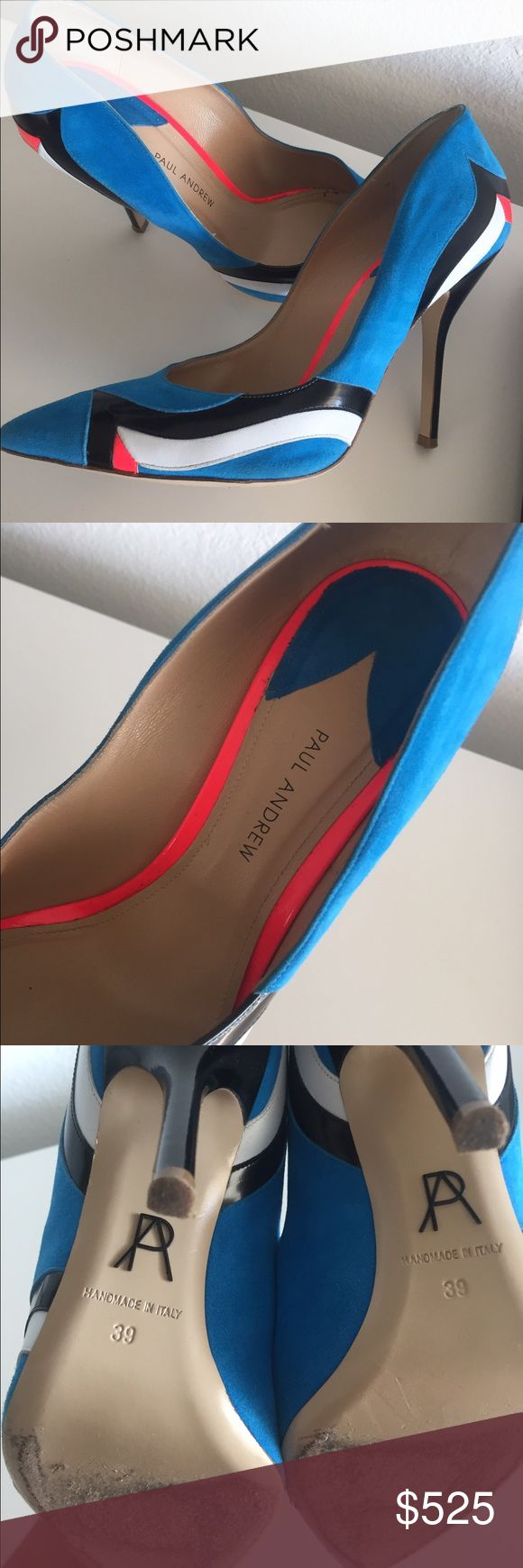 Birds of Paradise in wearable form! Phoenix paneled suede, leather and patent-leather Paul Andrew pumps with a 4.3 inch in size EU39.  Worn twice during my honeymoon in Greece... Paul Andrew Shoes Heels