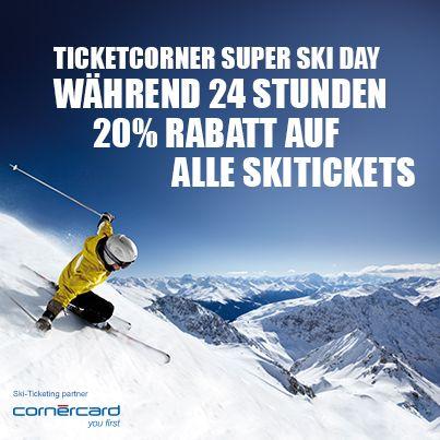 Am 14.02. startet der Ticketcorner Super Ski Day: Erhalte für 24 Stunden 20% Rabatt auf alle Skitickets! Jetzt anmelden: http://ski.ticketcorner.ch/eventstore/control/includePage?campaign=superskiday