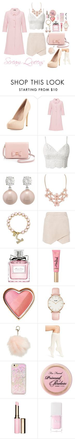"""If I Were in Scream Queens"" by secretglamqueen on Polyvore featuring Charles by Charles David, Vera Mont, Ted Baker, Kate Spade, BCBGMAXAZRIA, Christian Dior, CLUSE, Nila Anthony, Calvin Klein and Clarins"
