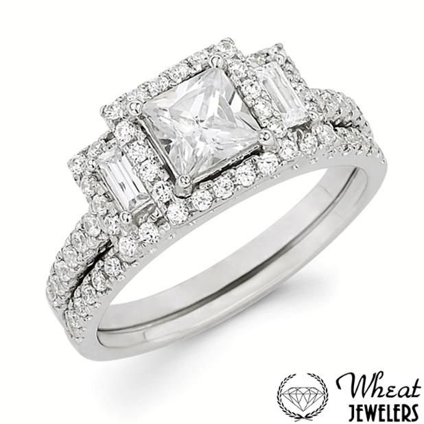 3 Stone Princess Cut And Baguette Halo Engagement Ring