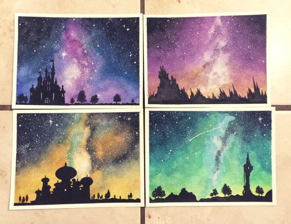 Original - Galaxy Disney Castle series  - feat. Cinderella, Maleficent, Aladdin & Rapunzel - 4.5x6in Watercolor Paintings