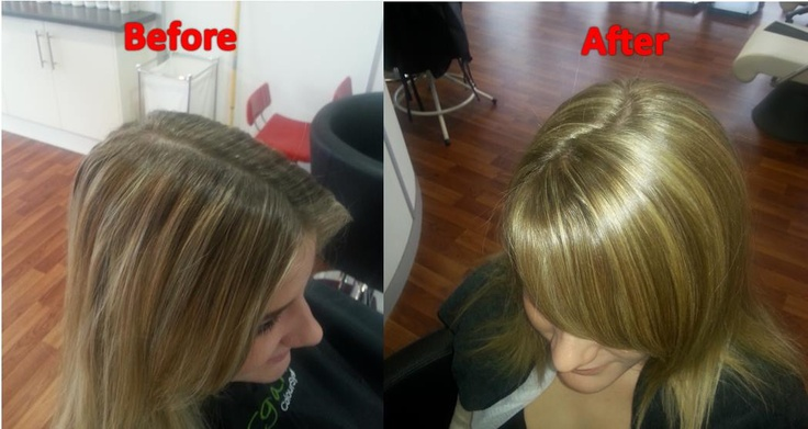 Use Organic Colour Systems for glossy, longer-lasting hair colour - without the harsh chemicals!  To brighten up these roots a 7GD with 6% liquid activator was used and an 11HS with 12% cream activator plus a scoop of Naturlite to give the highlighted effect through the T-Section. www.organiccoloursystems.com.au