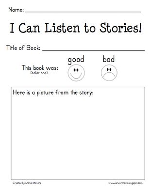 Kinder-Craze: A Kindergarten Blog: mp3 Listening Center and Reading Response Form - FREEBIE!